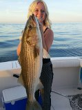 Valerie Hiller 25lb striped bass Norwalk June.4